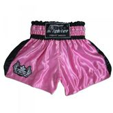 4Fighter Shorts Muay Thai Classic rosa-negro con la 4Fighter logo en la pierna