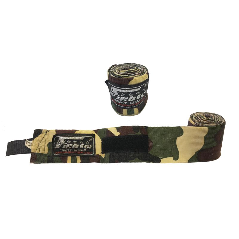 4Fighter Boxbandagen / Hand Bandagen 460cm halb - elastisch camouflage green-brown-black
