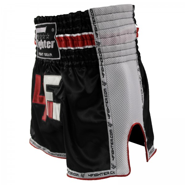 4Fighter Muay Thai Short AIR satén con el logotipo blanco y respiraderos laterales de malla – Bild 2