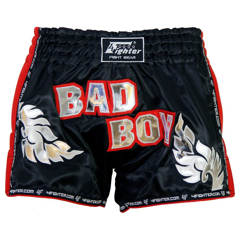 4Fighter Low Waist Muay Thai / Kickboxing Bad Boy Short Black - Red Air Mash