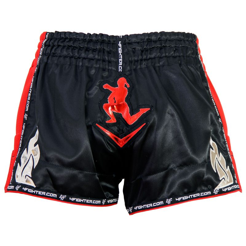 4Fighter Low Waist Muay Thai / Kickboxing Bad Boy Short Black - Red Air Mash – image 2