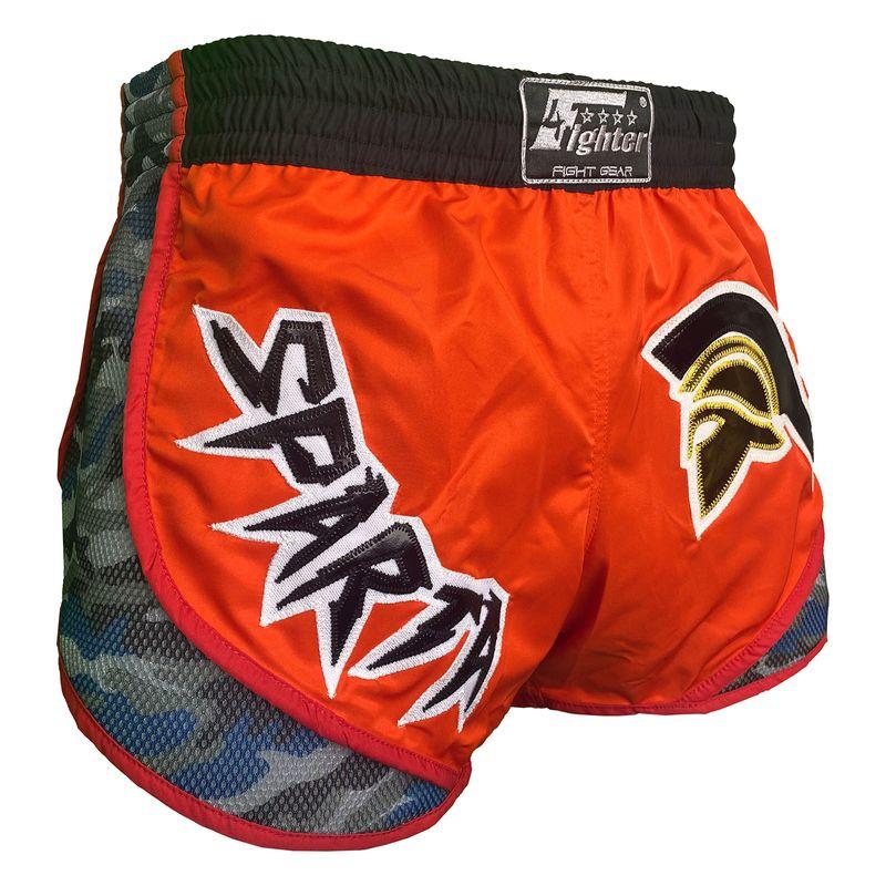 4Fighter SPARTA Muay Thai Shorts High Rise orangebraunes Satin mit blauen Camo Sides