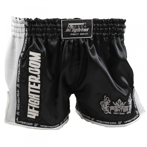 4Fighter Low Waist Muay Thai Shorts AIR black satin with white mesh and slots – image 1
