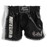 4Fighter Low Waist Muay Thai Shorts AIR satén negro con malla blanco y ranuras
