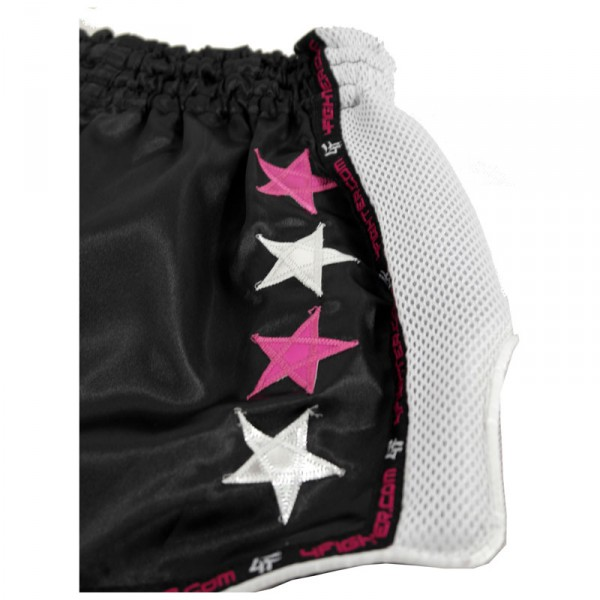 "4Fighter Low Waist Muay Thai Shorts ""FightQueen"" black satin with white mesh – image 5"