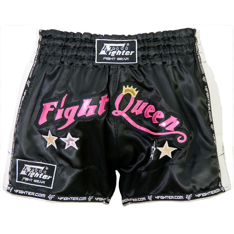 "4Fighter Low Waist Shorts Muay Thai ""Fight Queen"" satén negro con Mesh blanco – Bild 1"
