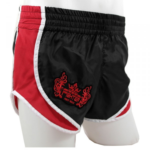 4Fighter Low Waist High Rise Muay Thai Shorts black with red AIR-sites and lining – image 1