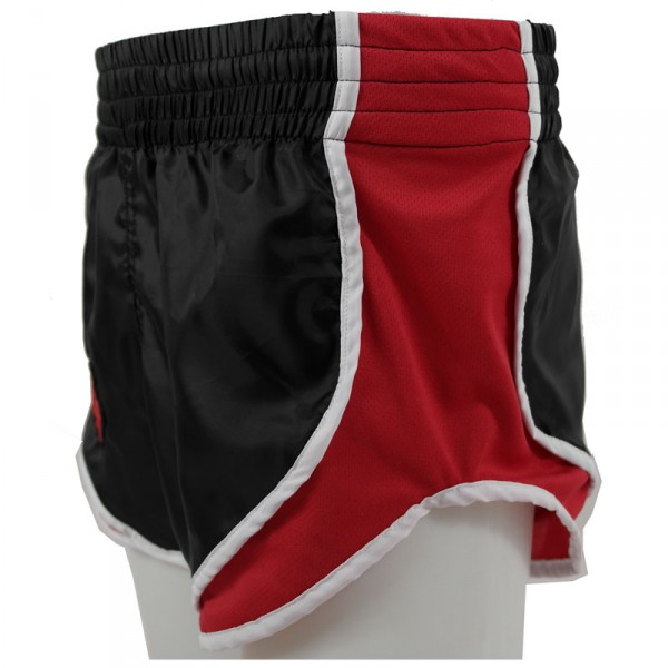 4Fighter Low Waist High Rise Muay Thai Shorts black with red AIR-sites and lining – image 4