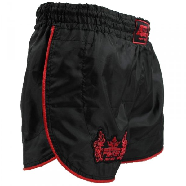 4Fighter Retro Shorts Muay Thai / pantalones kickbox negro con contornos rojo – Bild 4