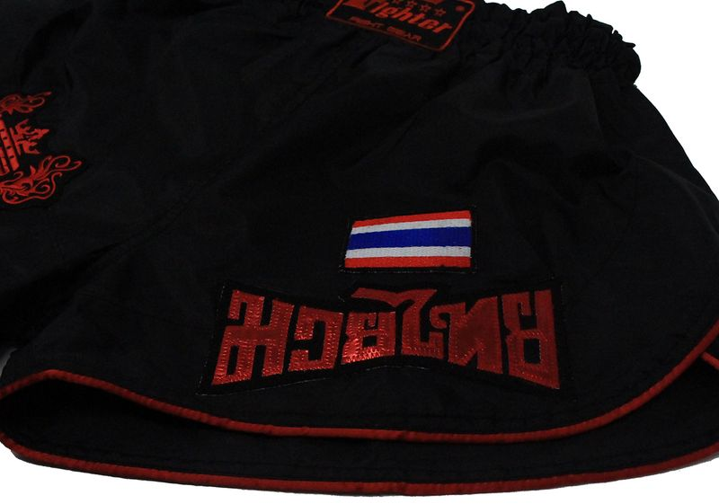 4Fighter Retro Muay Thai Shorts Thaiboxing trunks black with red outlines – image 6