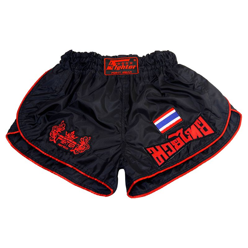 4Fighter Retro Muay Thai Shorts Thaiboxing trunks black with red outlines – image 1