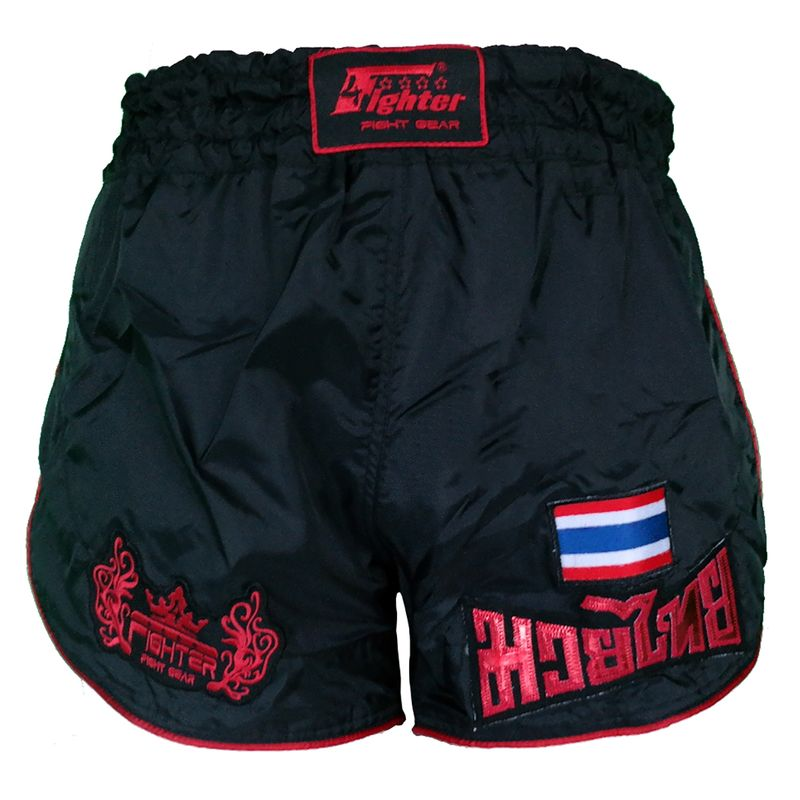 4Fighter Retro Muay Thai Shorts Kickbox Hose schwarz mit roten Outlines – Bild 1