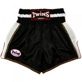 TWINS Kick Thaiboxing Shorts TTBL-063 negro con páginas blancas hechas de puré