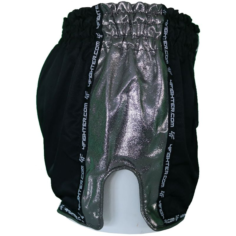 4Fighter Low Waist Muay Thai Shorts -  black mircofiber with Chrom sites and slots – image 2