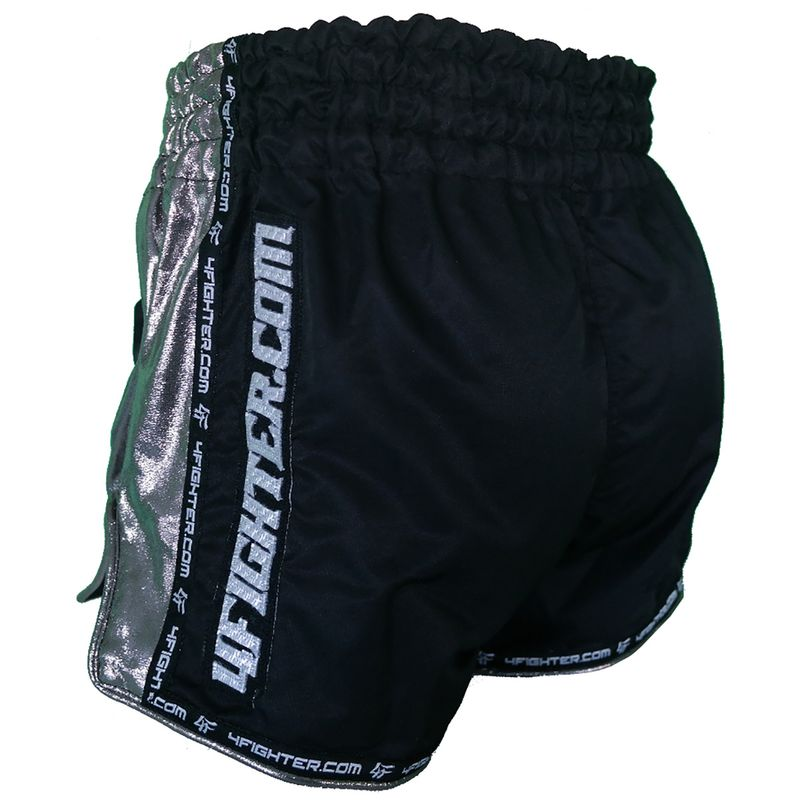 4Fighter Low Waist Muay Thai Shorts -  black mircofiber with Chrom sites and slots – image 3