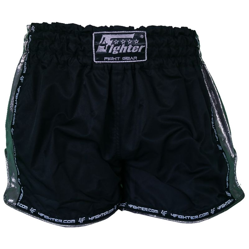 4Fighter Muay Thai Shorts hechos de microfibra negro con laterales brillantes suaves – Bild 4