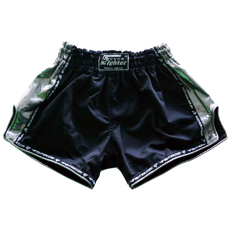 4Fighter Low Waist Muay Thai Shorts -  black mircofiber with Chrom sites and slots – image 1