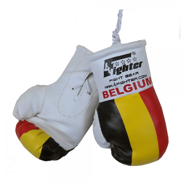 4Fighter Mini boxing gloves Belgium in white with national flag and lettering