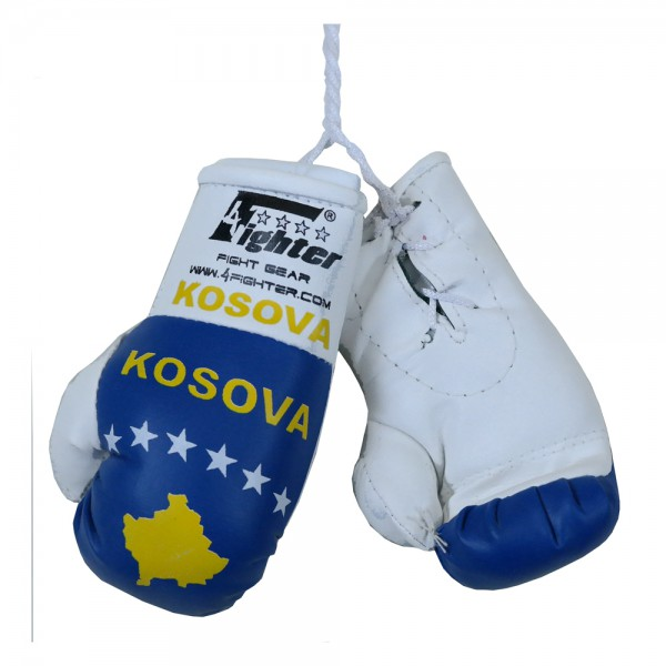 4Fighter Mini boxing gloves Kosovo in white with national flag and Kosova lettering