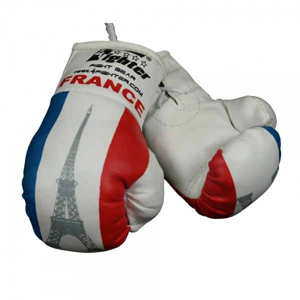 Mini Guantes de boxeo Francia 4Fighter en blanco con bandera nacional e Torre Eiffel – Bild 2