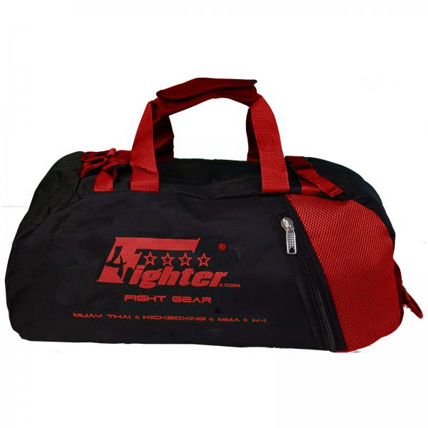 4Fighter Mesh Gymbag Trainingstasche mit Rucksack schwarz-rot Duffelbag Backpack 60cm x 30cm x 30cm