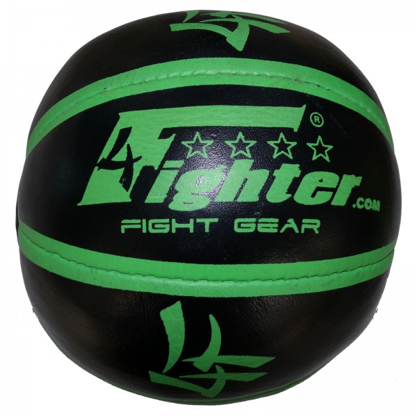 4Fighter Leather Medicin Ball black with green Logos 3Kg – image 1