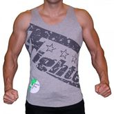 4Fighter T-shirt Muscle shirt Tanktop grey with 4Fighter printing S-XXL 001