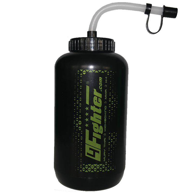 4Fighter Boxing Bottle schwarz-grün 1 Liter Trinkflasche mit Halm – Bild 1