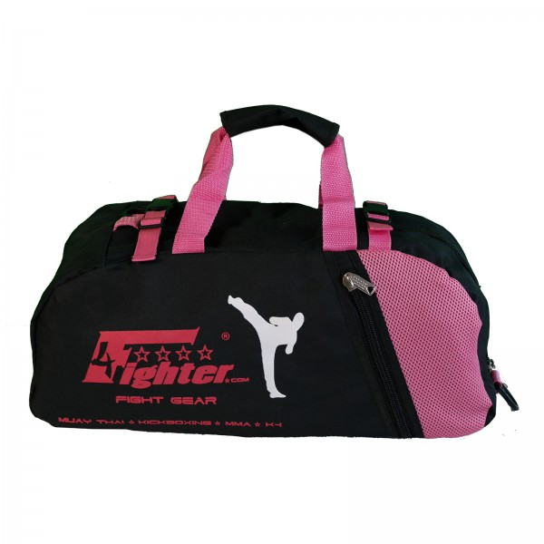 4Fighter Gymbag M Trainingstasche mit Rucksackfunktion in schwarz-pink 60cm x 30cm x 30cm