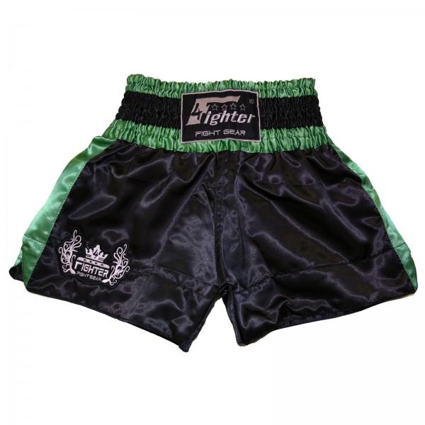 4Fighter Muay Thai Shorts Classic schwarz-grün mit 4Fighter Tribal Logo am Bein – Bild 1