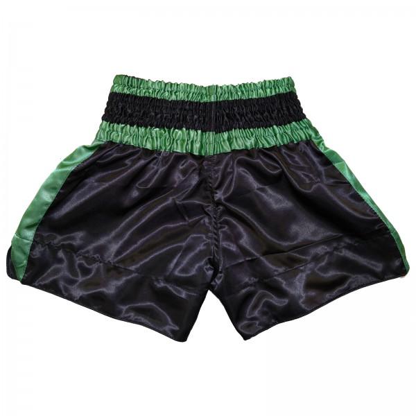 4Fighter Muay Thai Shorts Classic schwarz-grün mit 4Fighter Tribal Logo am Bein – Bild 2