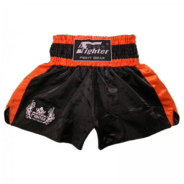 4Fighter Muay Thai Shorts Classic schwarz-orange mit 4Fighter Tribal Logo am Bein – Bild 1
