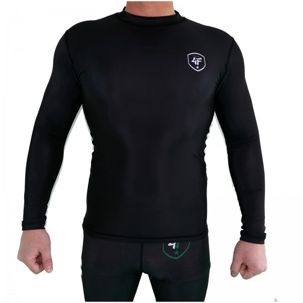 4Fighter Rashguard / Compression shirt longsleeve in black with white print S - XL