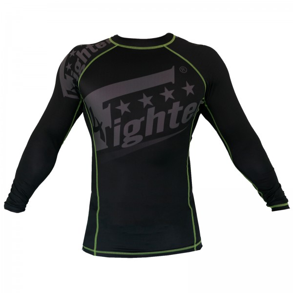 4Fighter Rashguard / Compression shirt black with grey print green logos S - XL – image 3