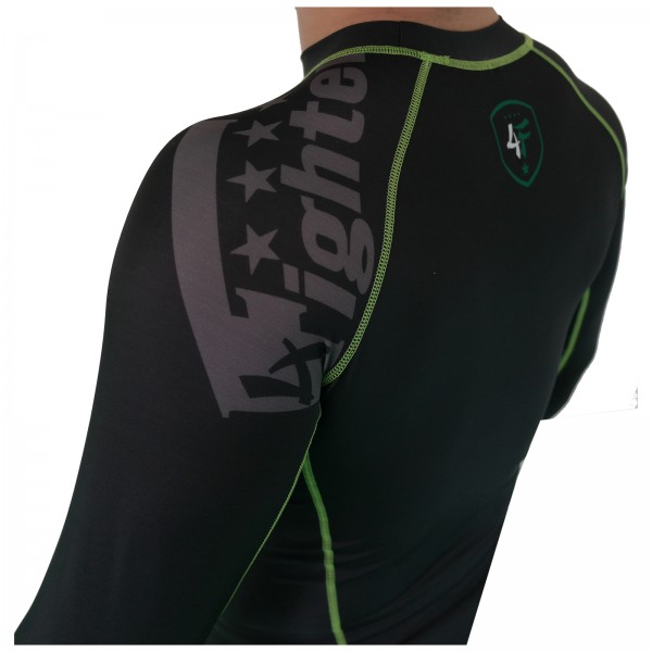 4Fighter Rashguard / Compression shirt black with grey print green logos S - XL – image 2