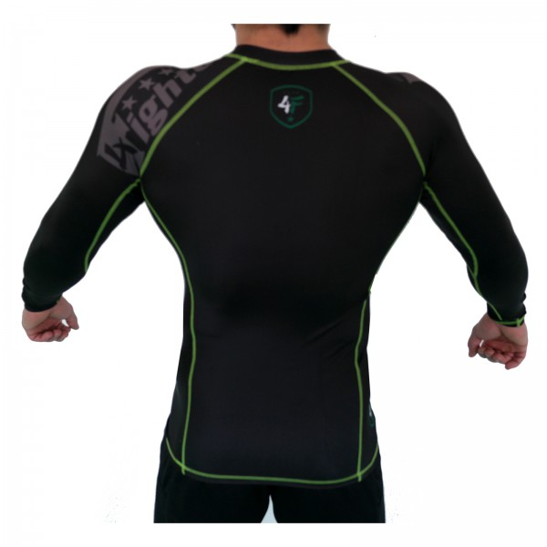 4Fighter Rashguard / Compression shirt black with grey print green logos S - XL – image 5