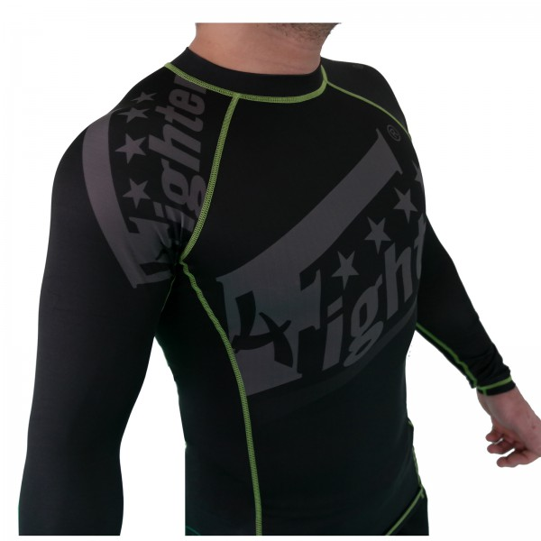 4Fighter Rashguard / Compression shirt black with grey print green logos S - XL – image 1