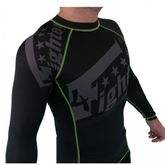 4Fighter Rashguard / Compression shirt black with grey print green logos S - XL
