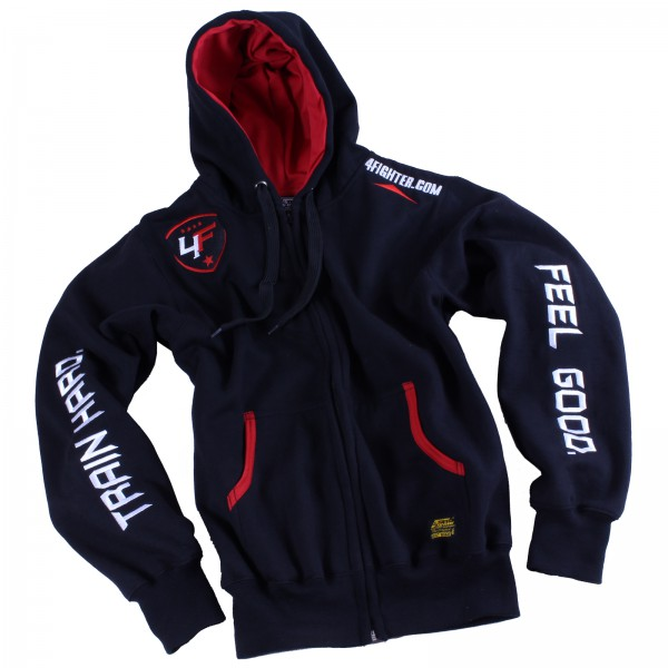 4Fighter Zip-Hoodie / Sweatshirt with zip, pockets and hood black/red – image 3