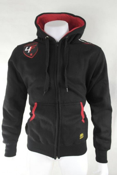 4Fighter Zip-Hoodie / Sweatshirt with zip, pockets and hood black/red – image 1