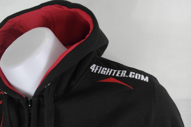 4Fighter Zip-Hoodie / Sweatshirt with zip, pockets and hood black/red – image 8