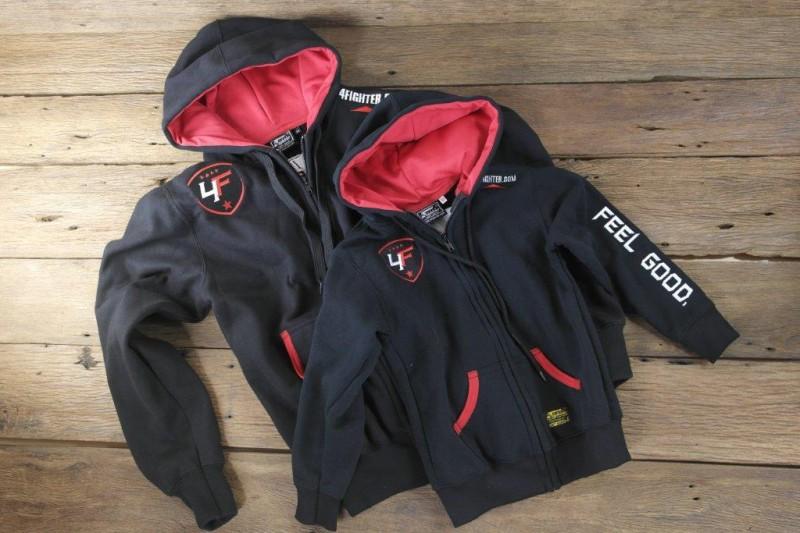 4Fighter Zip Hoodie KIDS mit Reißverschluß, Taschen und Kapuze schwarzrot