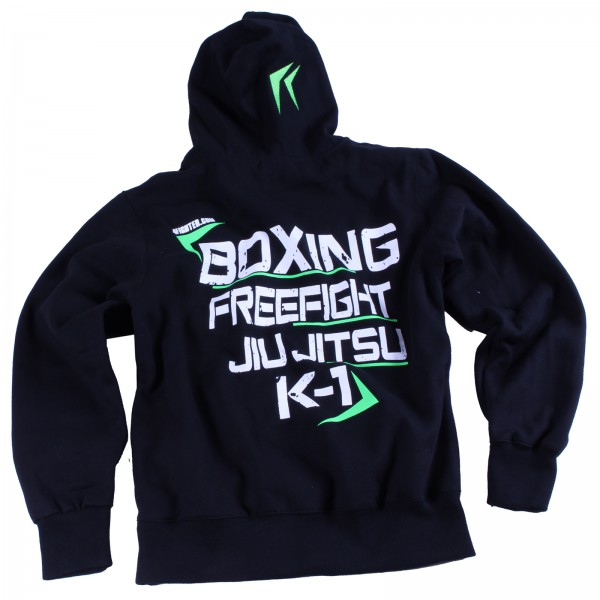 "4Fighter KIDS Hoodie / ""MMA we are all one"" Pullover mit Kapuze schwarz/neongrün – Bild 1"