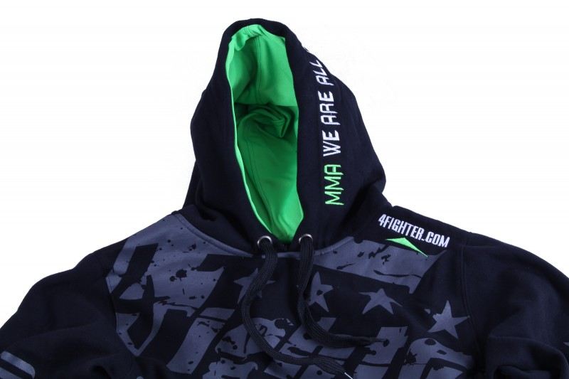 4Fighter Kids Hoodie / Sweatshirt with pockets and hood black/neon green – image 3