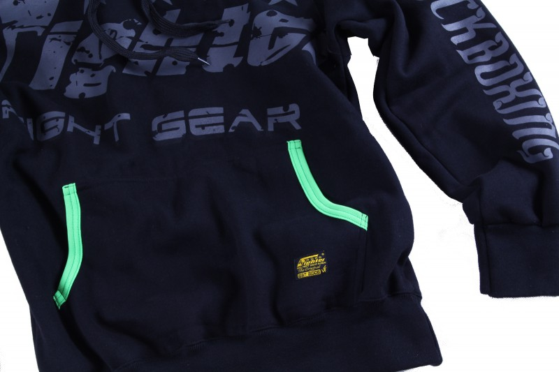 4Fighter Kids Hoodie / Sweatshirt with pockets and hood black/neon green – image 4