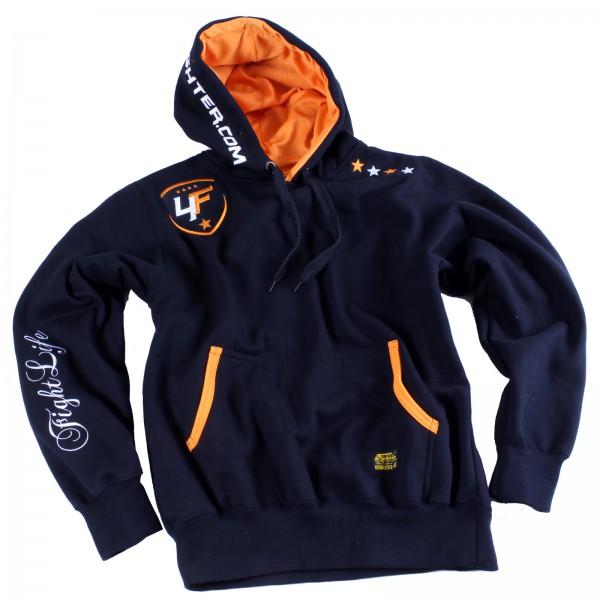 4Fighter Hoodie / Pullover mit Taschen, Kordeln und Kapuze schwarz/neon orange