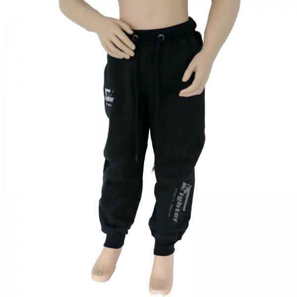 4Fighter Kinder Jogginghose / Trainingshose / Freizeithose / Sporthose schwarz mit Stick