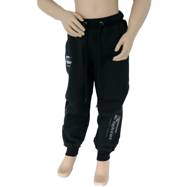 4Fighter children sweatpants / training pants / leisure pant / Sport Pants black with embroidery – image 1