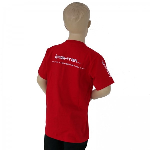 4Fighter KIDS RED T-shirt in red single-colored with white Logo Print – image 3
