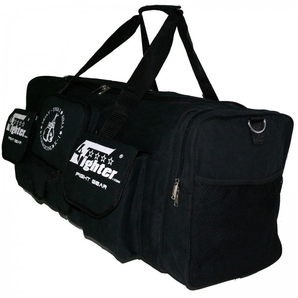 4Fighter Gymbag PRO oversized gym bag with many small pockets black / Duffel Bag – image 2